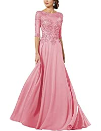 Mother of The Bride Dresses Lace Applique Beaded Long Sleeves Chiffon Party Dresses for Women
