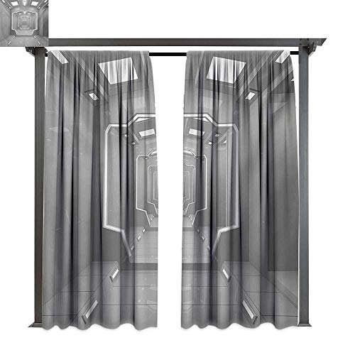 (bybyhome Extra Long Outdoor Curtain Outer Space Supernatural Science Based Travel Journey to Planet Solar System Exploration Image W84 xL96 Suitable for Front Porch,pergola,Cabana,Covered Patio )