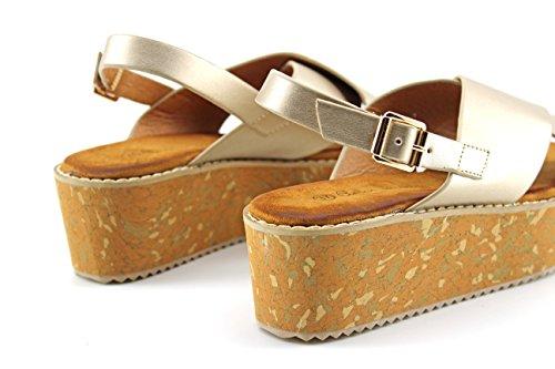 Modelisa - Sandalia Cuña Plataforma Mujer Oro
