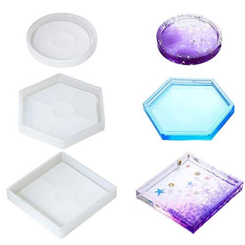 3 Moldes De Silicona Para Resina Epoxy (geometricos)