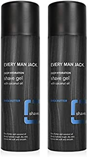 product image for Every Man Jack Shave Gel - Shea Butter | 7-ounce Twin Pack - 2 Cans Included | Naturally Derived, Parabens-free, Pthalate-free, Dye-free, and Certified Cruelty Free