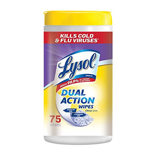 Lysol Dual Action Disinfecting Wipes, Citrus, 75 ct (Dual Disinfectant Action)