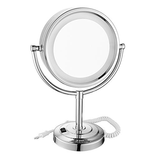 ZKKK Makeup Mirror,Rechargeable Lighted Makeup Mirror with Dimmable Lights, 3X-10X Makeup Mirror with Lights and Magnification Brass and Stainless Steel,7X