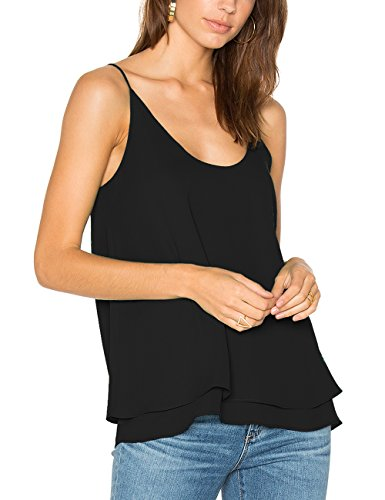 Dohia Women's Summer Chiffon Layered Cami Tank Tops Loose Fit Casual Blouses C2714(L, Black)