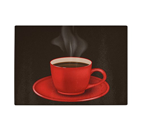 Red Coffee Mug With Vapor Kitchen Bar Glass Cutting Board 11