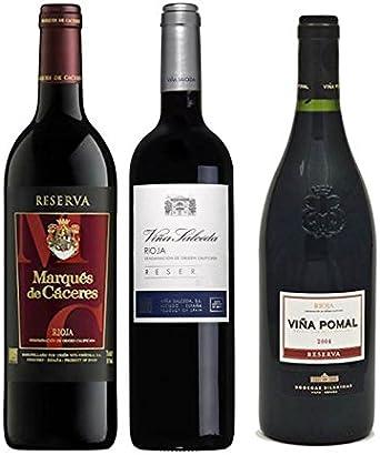 Pack Vino Rioja Clasicos Reserva 3 botellas. 1 Marqués de Cáceres Reserva, 1 Viña Salceda Reserva y 1 Viña Pomal Reserva: Amazon.es: Alimentación y bebidas