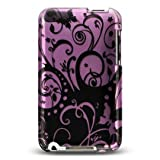 DC Premium Designer Hard Crystal Snap-on Case for Apple iPhone 3G, 3GS 3G-S - Cool Black Purple Butterfly Swirl Print