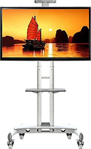 North Bayou Universal Mobile TV Cart TV Stand with Mount for LED LCD Plasma Flat Panel Screens and Displays 32'' to 65 inch up to 100 lbs AVA1500-60-1P in White with 1 AV Shelf