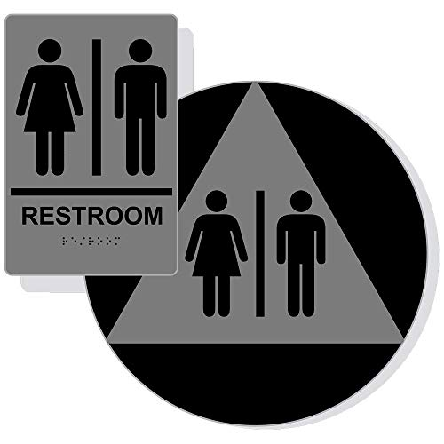 Unisex Restroom Sign Set for Wall and Door, ADA Compliant Braille with Symbol, Black on Gray Acrylic with Adhesive Mounting Strips by ComplianceSigns ()
