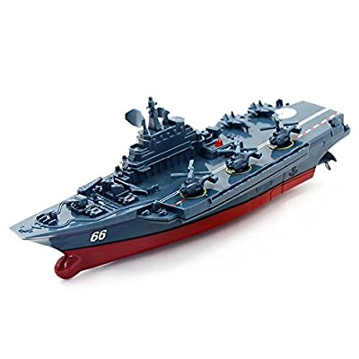 Qiyun 2.4G Remote Control Military Warship Model Electric Toys Waterproof Mini Aircraft Carrier/Coastal Escort Gift for Kids Dark gray Aircraft Carrier