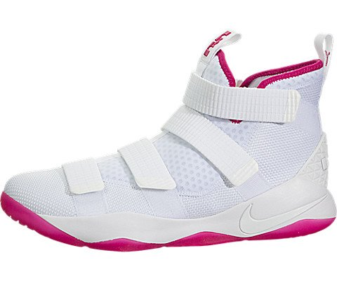 (Nike Youth Lebron Soldier 9 Boys Basketball Shoes, White, Size)