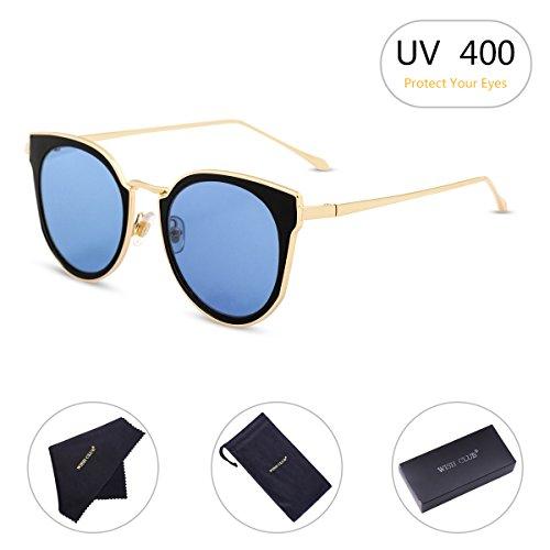 WISH CLUB Cat Eyes Flat Lens Fashion Sunglasses for Women Horn Rimmed with UV 400 Eyewear for Girls Metal Frame Sun Glasses (Blue) - Ball The Be Sunglasses