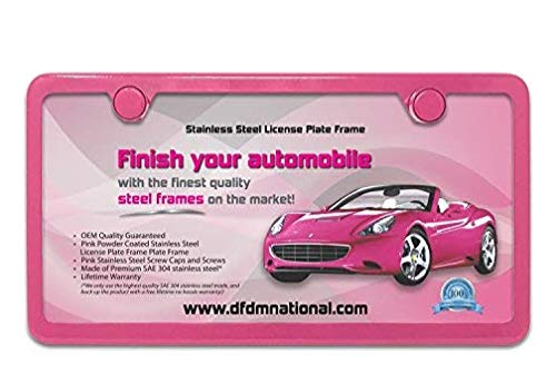 (DFDM National Powder Pink Stainless Steel License Plate Frame – Premium Stainless Steel (SAE 304) Kit, Includes Screws, Fasteners, Caps, and Foam Insulation - Anti-Theft Model - 2 Hole Bracket)