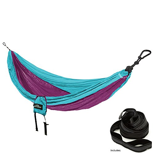 (Castaway Hammocks Single Travel, Turquoise/Purple)