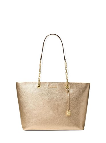 Michael Kors Mercer Chain Medium Top Zip Multifunction Leather Tote (Pale Gold) by Michael Kors