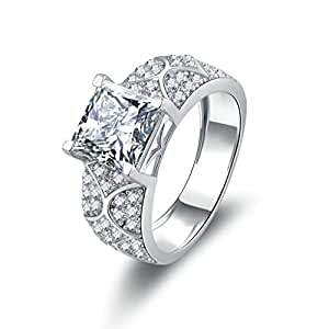 Ring Proposal Ring With Square Cubic Zirconia Halo Ring: Jewelry