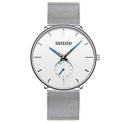 Men's Watch Unisex Minimalist Watch Waterproof Watch Classic Gift Mesh with White Blue Pointer
