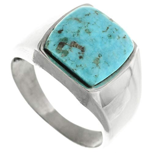 Turquoise Silver Navajo Mens Ring Smooth Sterling Shank 0216