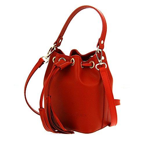 Christian Laurier - Sac à main en cuir modèle Tina rouge - Sac à main bourse haut de gamme fabriqué en Italie en cuir véritable