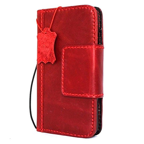 Genuine real Leather Case for apple Iphone 8 Plus Book Wallet thin magnetic cover Handmade Retro Luxury wine soft cards slots slim Daviscas