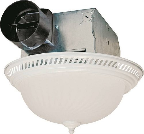 - Air King DRLC703 Decorative Round Quiet Exhaust Bath Fan with Light, 70-CFM, White Finish