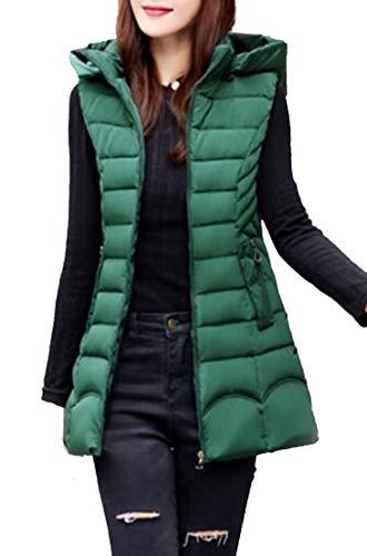 Packable Hooded Green Sleeveless TTYLLMAO Women's Puffer Vest Blackish Down RtEnqnWx