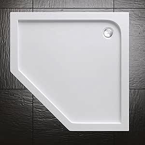Plato de ducha acrílico Durovin Bathrooms, diseño pentagonal, blanco: Amazon.es: Bricolaje y herramientas