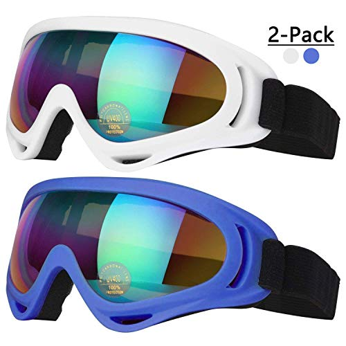 COOLOO Ski Goggles, Pack of 2, Skate Glasses for Kids, Boys & Girls, Youth, Men & Women, with Protection, Wind Resistance, Anti-Glare Lenses (Blue/White)