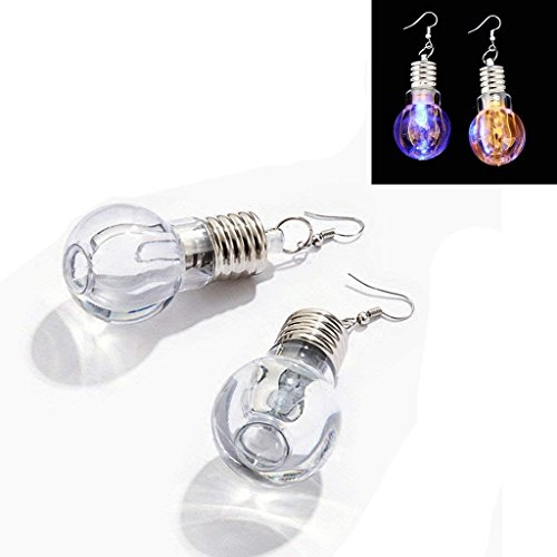 Beokeo 1 Pair LED Earrings Glowing Light Up Bulb Shape Ear Drop Dance Party Accessories,Multi-Color]()