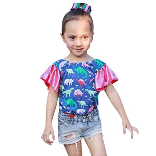 CSSD Kids Baby Girls Casual {Cartoon Dinosaur} {Patchwork Ruffle} {Sleeveless Tops}+{Denim Shorts} (24M, Blue) by CSSD