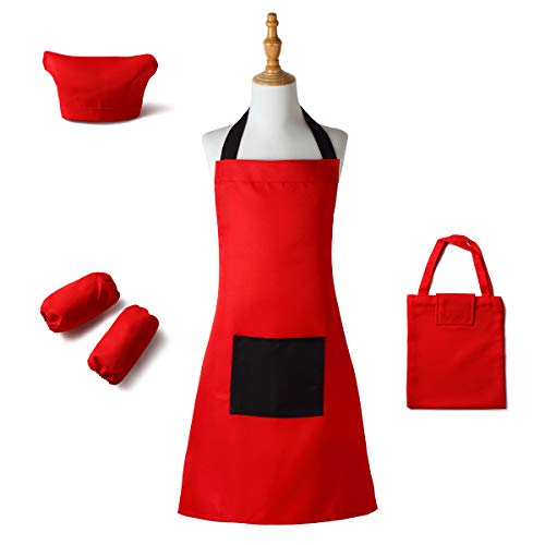 Kids Apron with Pocket Apron Set for Girls Boys with Chef Hat Arm Sleeves Storage Bag for Cooking Baking Art Painting Adjustable Fit Machine Washable (Red with black, small) -