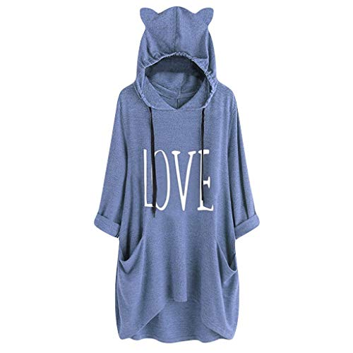 Sunhusing Women's Letter Print Drawstring Cat Ear Hooded Tunic Top Loose Pocket Large Size Sports Sweater Blue (Buy Lights Online String)