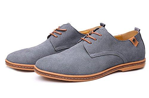 Fansela Tm Mens Pu En Cuir Lacer Des Chaussures De Travail Décontractées Gris