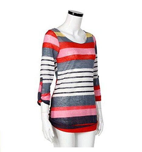 Tees Short Casual Sleeve neck V shirt Tops Blouse Red2 T Women's wBq8ZxFx