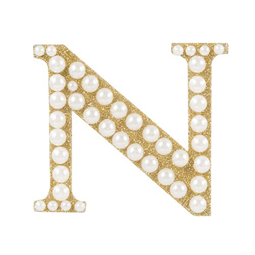 Darice 30053620 Gold & Pearl Monogram Letter N Sticker Gold