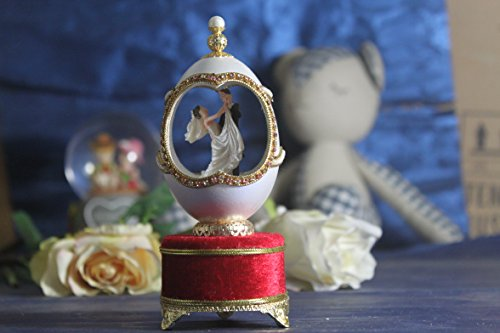Wedding Gift Music Box Easter Egg Artists Musicbox Couple Dance Eggshell Art by Biscount
