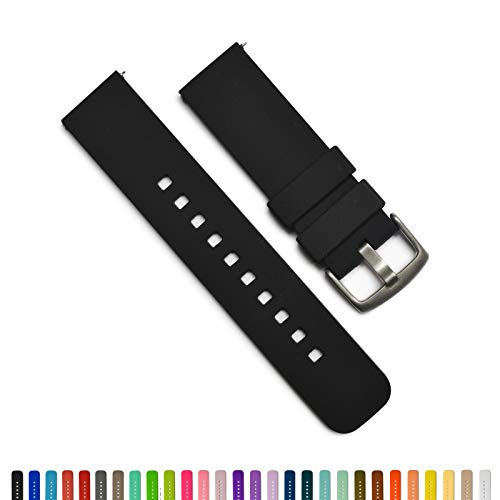GadgetWraps 22mm Silicone Watch Band - 22mm Watch Band Silicone with Quick Release Watch Pins - for Men and Women 22mm Quick Release Watch Band with 29 Unique Colors (22mm, Black)