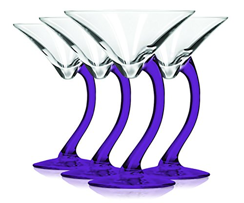 Libbey Purple Curved Stem Martini Glasses with Colored Accent - 6.75 oz. Set of 4- Additional Vibrant Colors Available by TableTop -