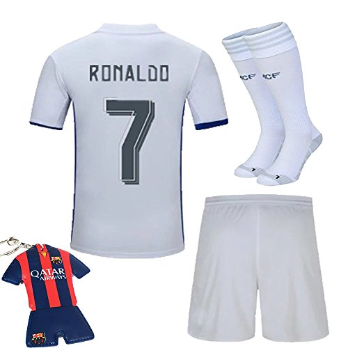 [SOCCER PLANET 2016/2017 #7 Home Kit White/purple Football Soccer Jersey Sportswear Team Shirt & Shorts & Socks & Key Chain For Kids 3-12 Years (7-8 years)] (Real Football Kit)