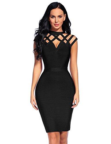 Madam Uniq iFashion Women's Sleeveless High Neck Hollow Out Bandage Mini Dress (S, Black) (Black Bandage Dress)