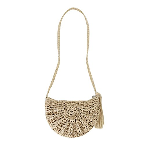 Rebecca Women Girl Straw Woven Shoulder Bag Beach Crochet Envelope Crossbody Bag Vacation Tassels Handbag (Beige)