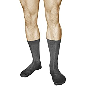 3 Pairs Men's Best Cotton Socks, Business Dress Quality Durable, Mercerized Fiber, Vitsocks Classic, 12-13, grey