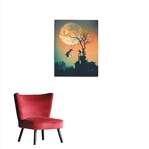 longbuyer Photo Wall Paper Halloween Night Background with Man Pushing Woman on Swing Mural 20