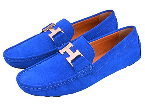 Car Driving Mens Shoes Leather Buckle Mens Santimon Shoes Casual blue gold on Loafers Slip Moc IwxzcdUp