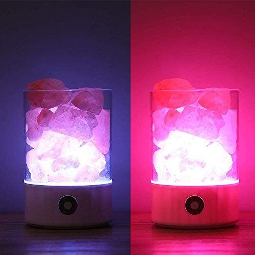 Nanle Himalayan Salt Lamp, Natural Crystal Salt Light with Touch Dimmer Switch LED Multicolour Changing Bulb for Bedroom Office Decoration and Air Purifying (Color : Black) by Nanle (Image #2)