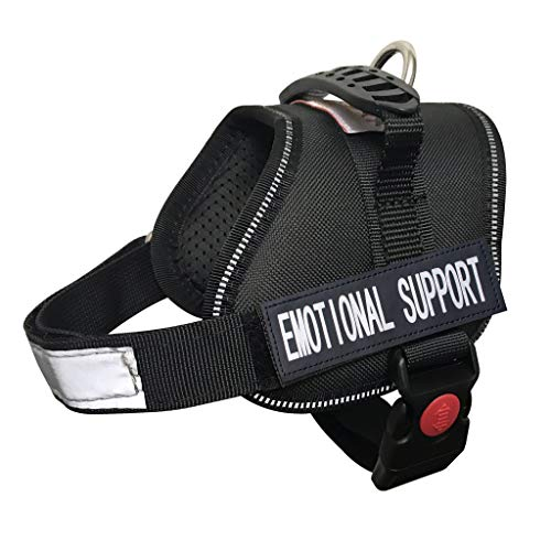 ALBCORP Emotional Support Dog Vest - Reflective Harness with Adjustable Straps and 2 Hook and Loop Removable Patches, Woven Polyester & Nylon, Comfy Mesh Padding, Sturdy Handle. XXS, Black