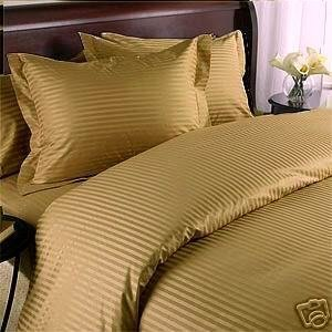 Amazon Com Stripes Gold 600 Thread Count Queen Size 8pc
