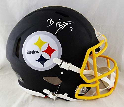 Ben Roethlisberger Autographed Pittsburgh Steelers F/S Flat Black Speed Authentic Helmet- Beckett Auth Silver