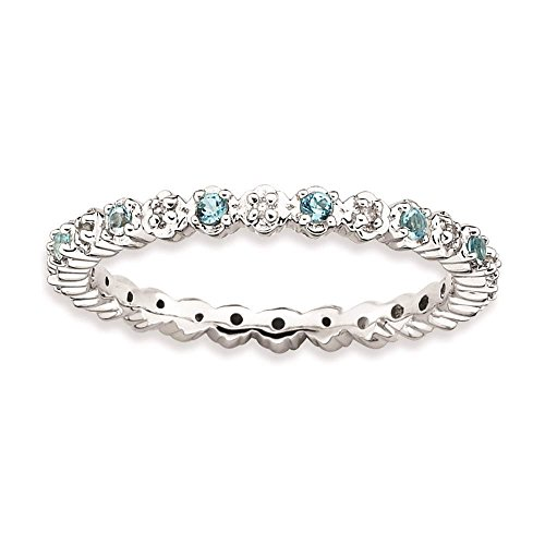 925 Sterling Silver Rhodium-plated Blue Topaz & Diamond Eternity Ring by Stackable Expressions Size 7