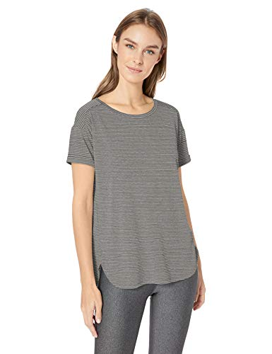 Amazon Essentials Women's Studio Relaxed-Fit Lightweight Crewneck T-Shirt, -charcoal heather stripe, Large